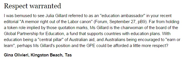 Canberra Times Gina Olivieri re GPE 2014.10.03
