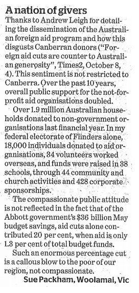 Canberra Times Sue Packham 2014.10.10