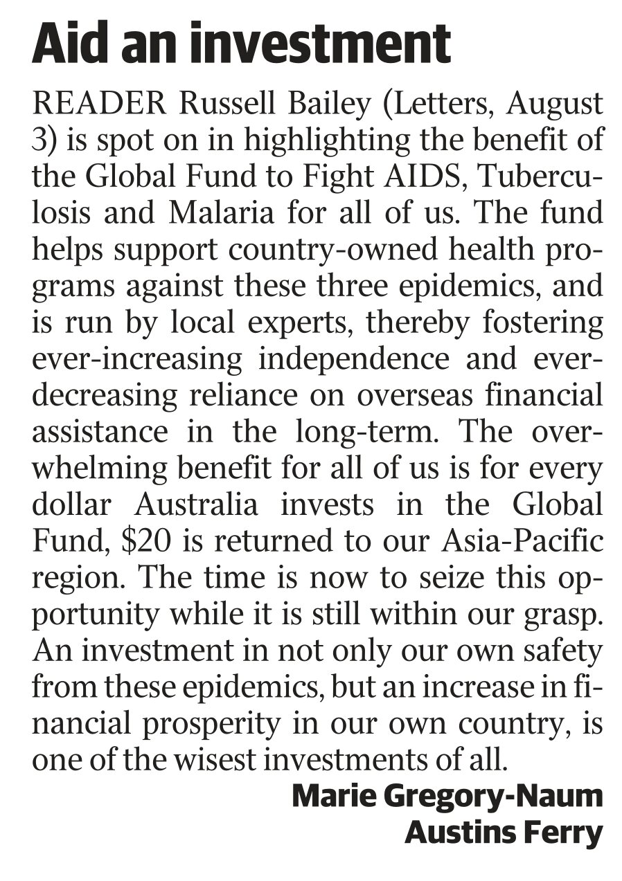 Letter to the editor by Marie Gregory-Naum of RESULTS Hobart about the Global Fund