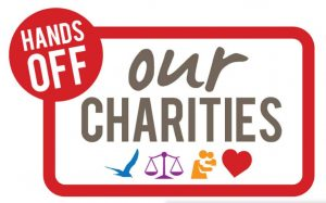 Hands Off Our Charities logo