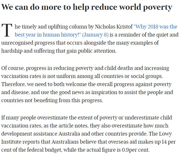 Mark Rice, Letter to Editor, Australian Financial Review, RESULTS, poverty