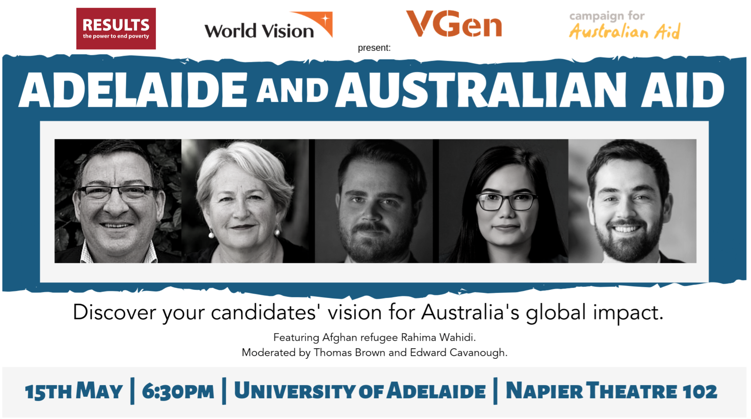 Adelaide candidates to be quizzed on international aid prior to federal election