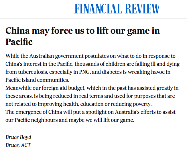 Bruce Boyd, Letter to the Editor of 'The Australian Financial Review'